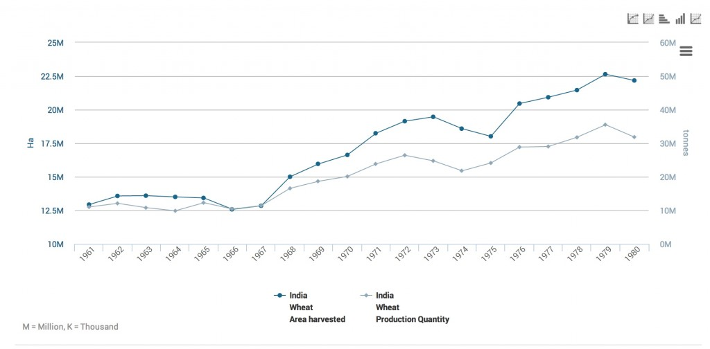 Area of Indian wheat cultivation and production tonnage 1961-1980
